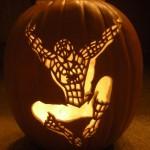 Halloween pumpkin carving Spider-man